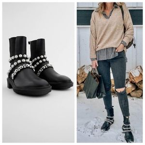 Zara NWT Pearl Strap Leather Boots Blogger Fav 6.5